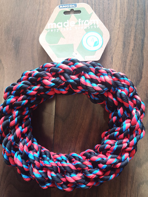 Ancol recycled tshirt rope ring 33cm