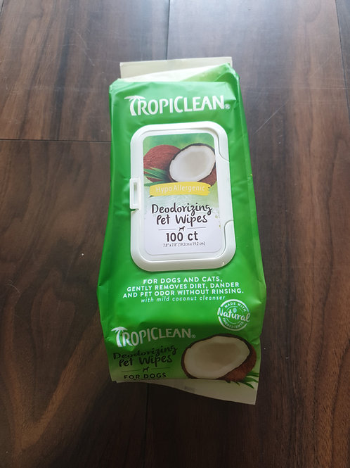Tropiclean deodorising pet wipes 100pk