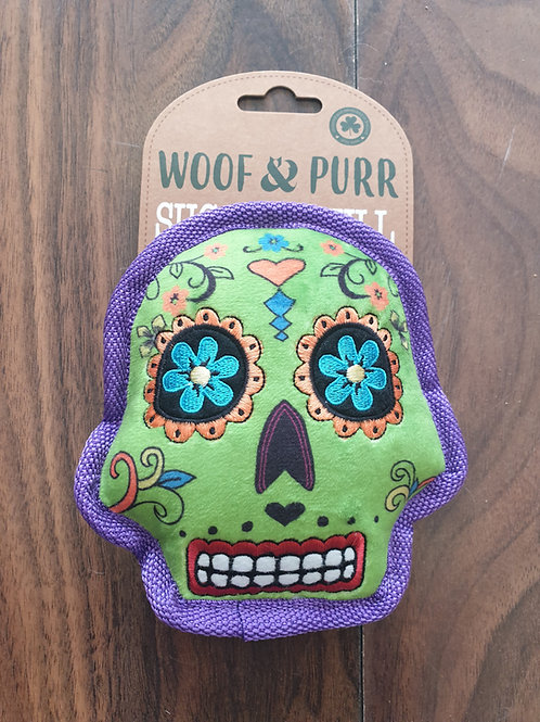 Woof and purr tuff squeaky sugar skull