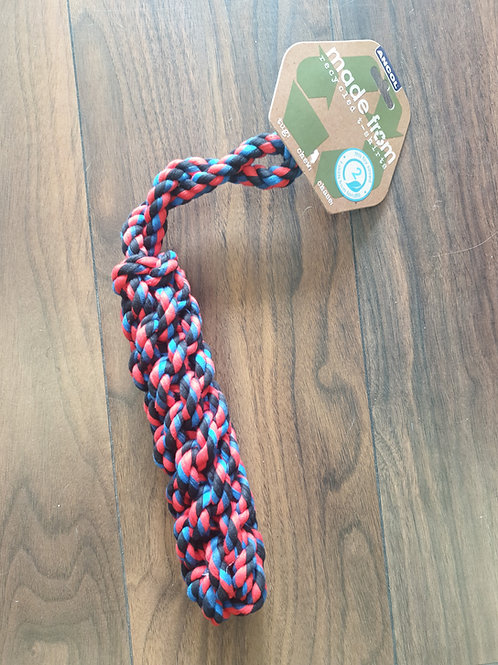 Ancol recycled tshirt rope log toy 33cm