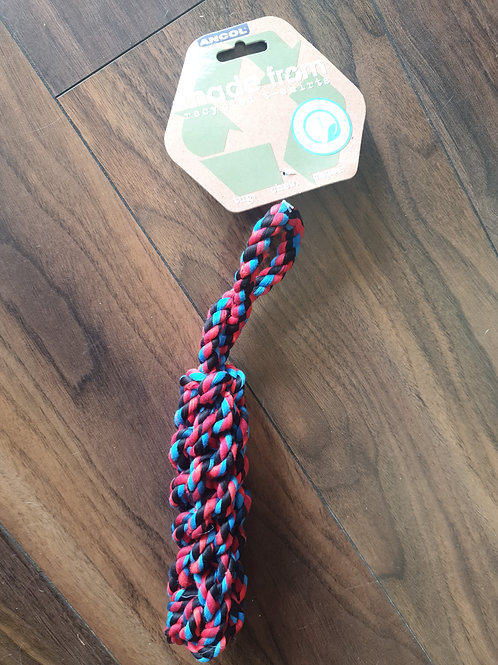Ancol recycled tshirt rope log toy 26cm