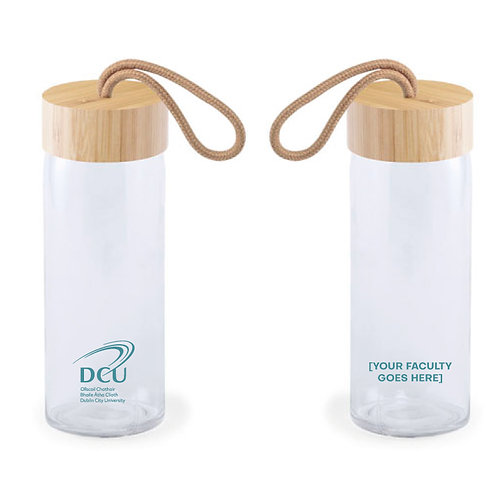 DCU Faculty Glass Bottle with Bamboo Lid Mug Min Qty 50pcs