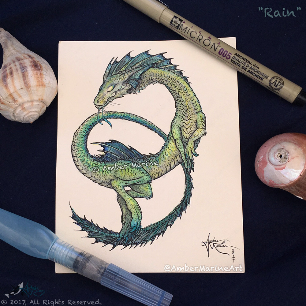 Rain Dragon, watercolor and ink serpent art by Amber Marine. Copyright 2017, All Rights Reserved.