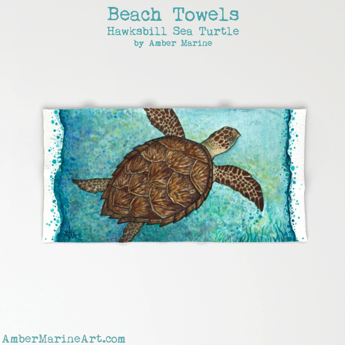 Hawksbill Sea Turtle Beach Towel