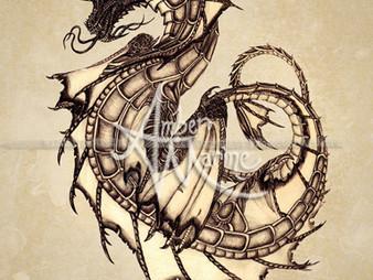 Throwback Art ~ Tsunami Dragon