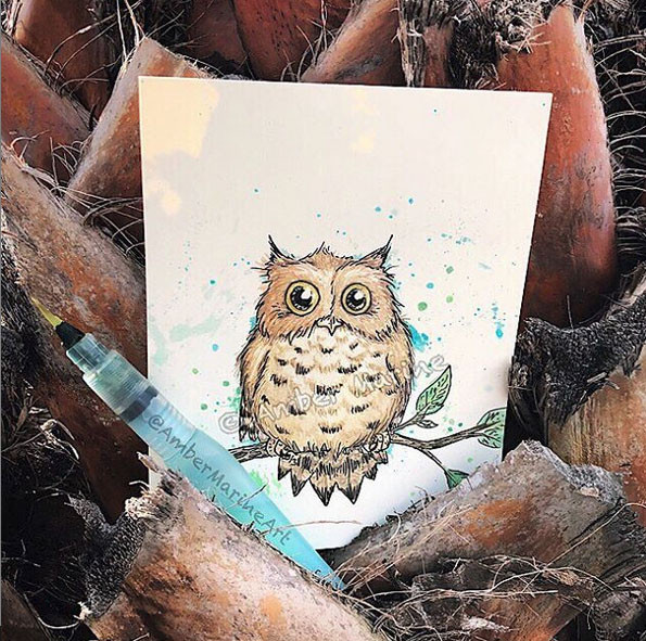 """""""Hoo, Me?"""" owl by Amber Marine. © 2019, all rights reserved."""