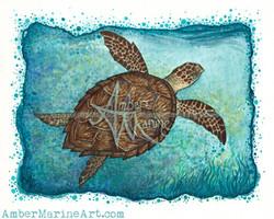 Hawksbill Sea Turtle Art, Watercolor