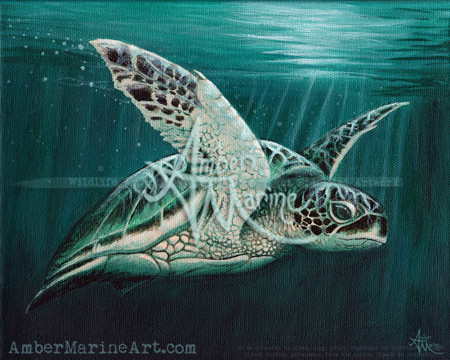 """Moonlit"" sea turtle acrylic painting by artist Amber Marine, © 2015, all rights reserved"