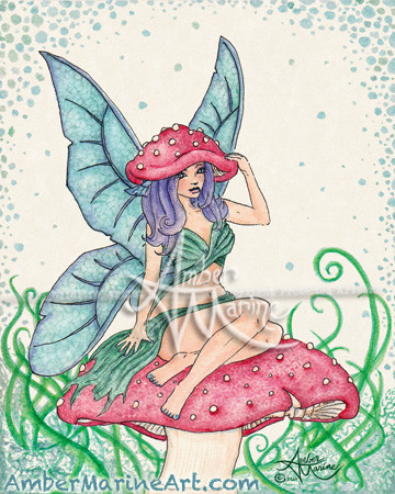 Rita Amanita Faerie Fairy art by Amber Marine © 2019 all rights reserved