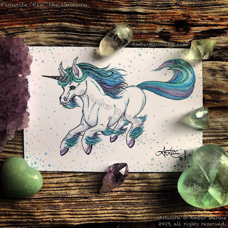 Fluorite Flo the Unicorn by Amber Marine watercolor and ink fantasy art © 2019 all rights reserved
