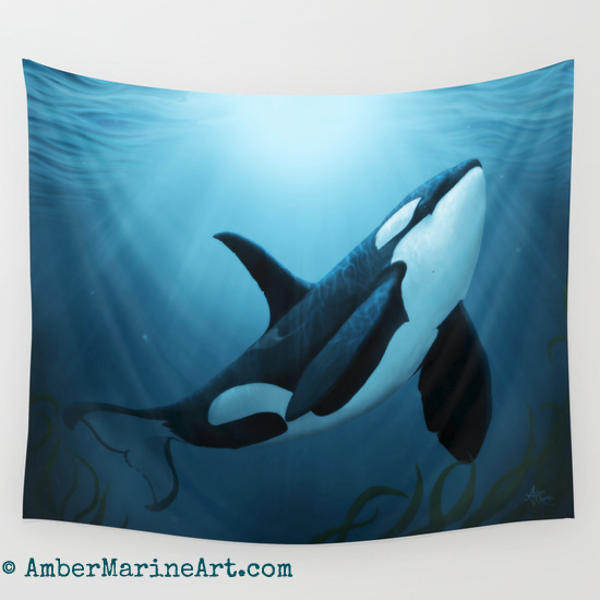 """the Dreamer"" Orca Wall Tapestry"