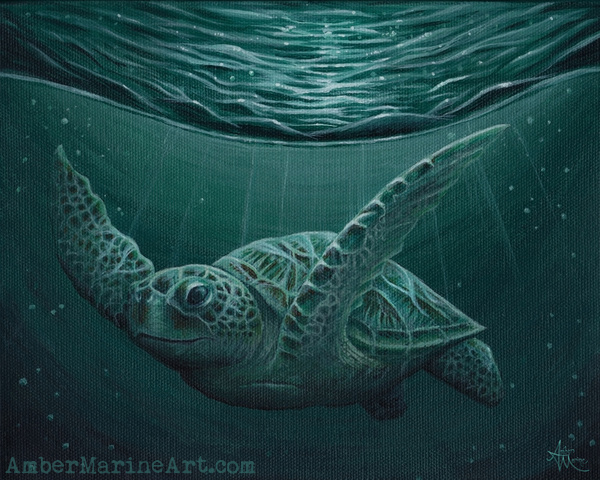 Eclipse Sea Turtle Art Print