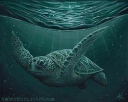 Eclipse Sea Turtle Art Print