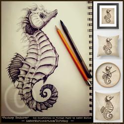 Fantasy Seahorse Ink Art