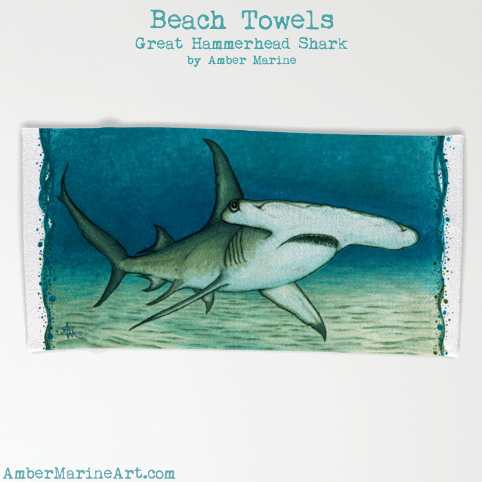 Great Hammerhead Shark Beach Towel