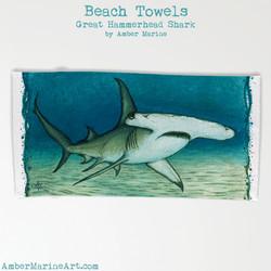 Great Hammerhead Shark Beach Towel