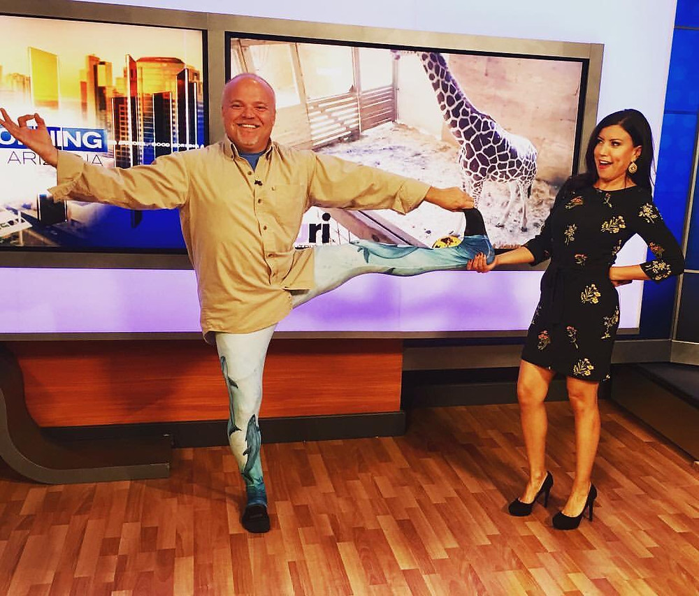 "Zooligist Dr. Grey Stafford on the news wearing my crazy (crazy awesome) ""Song of the Vaquita"" yoga pants!"