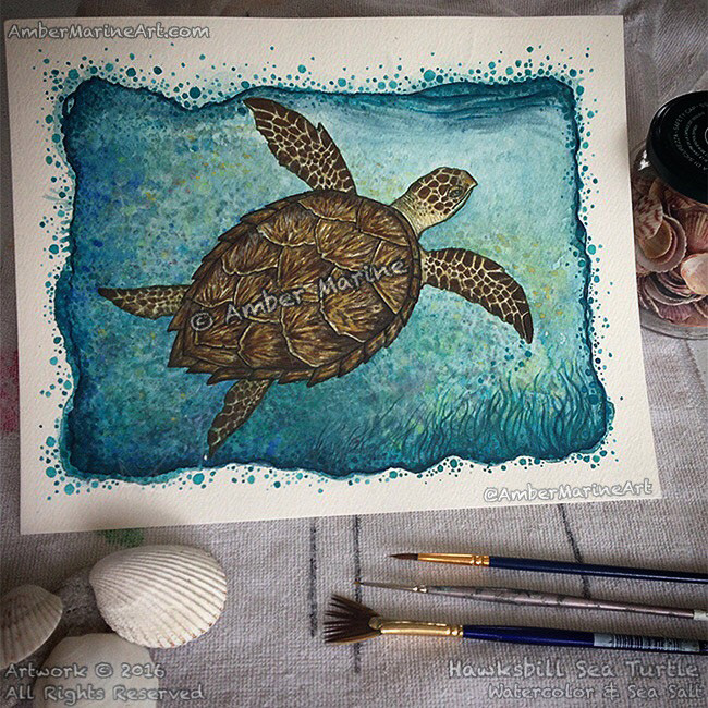Hawksbill Sea Turtle watercolor & sea salt by Amber Marine, © 2016, All Rights Reserved.