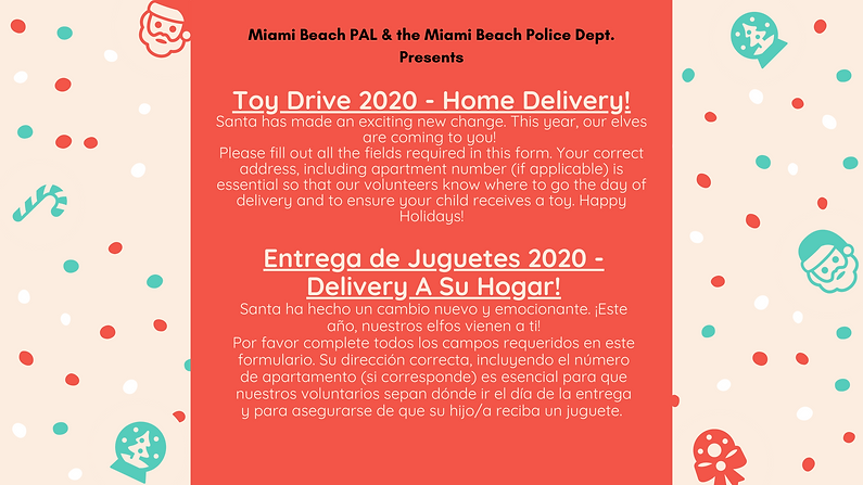 Toy Drive 2020 - Home Delivery!Santa has
