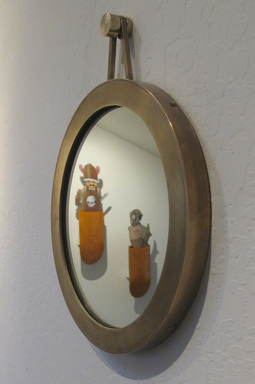 """Brass Mirror with living finish 16"""" dia."""