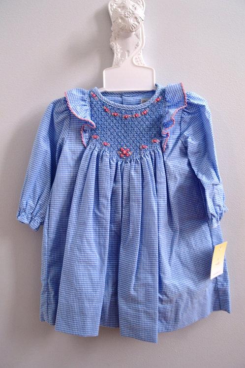 Smocked Blue Gingham Dress w/ruffles 569,570,571
