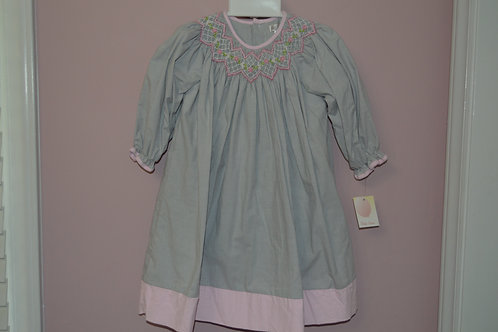 Smocked Grey/Pink Checked Bishop Dress 36-473/482