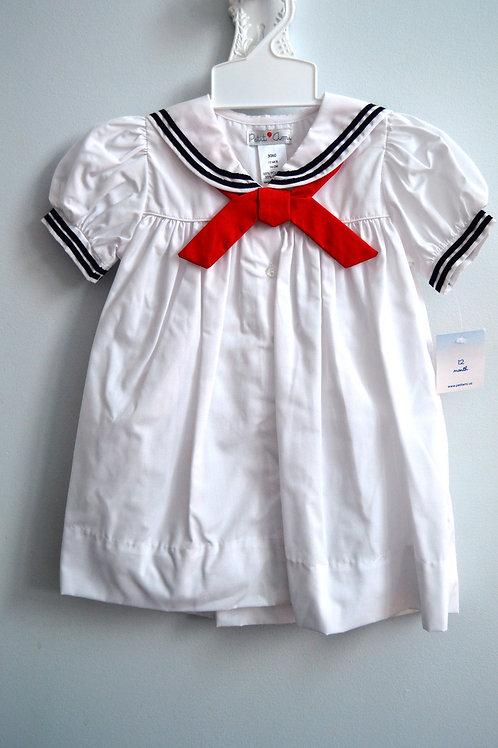 Petit Ami White Sailor Dress 36-00555