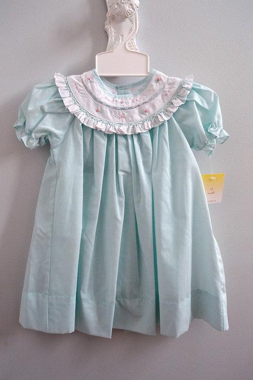 Petit Ami Mint Dress w/Lace Collar Insert 36-00578