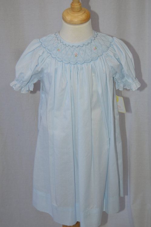 Petit Ami Blu Smocked Bishop Dress 36-00385,549