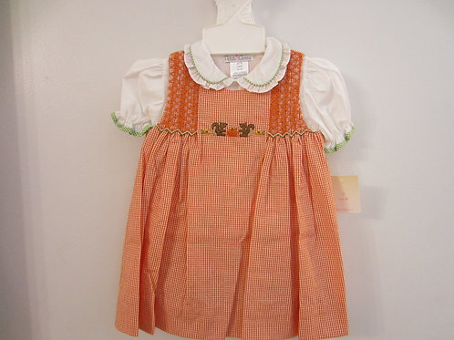 Orange Gingham Smocked  Dress w/Pumpkin &Squirrel  36-00662