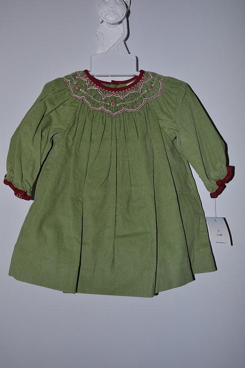 Green Corduroy Smocked Dress  36-00487