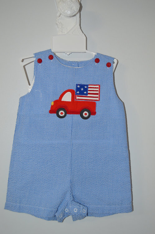 Petit Ami Blue  Seersucker Flag Sunsuit 36-00710