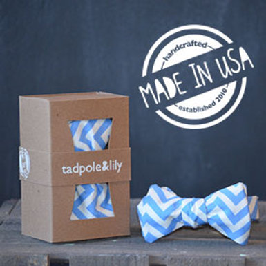 Blue Chevron Bowtie from Tadpole and Lily