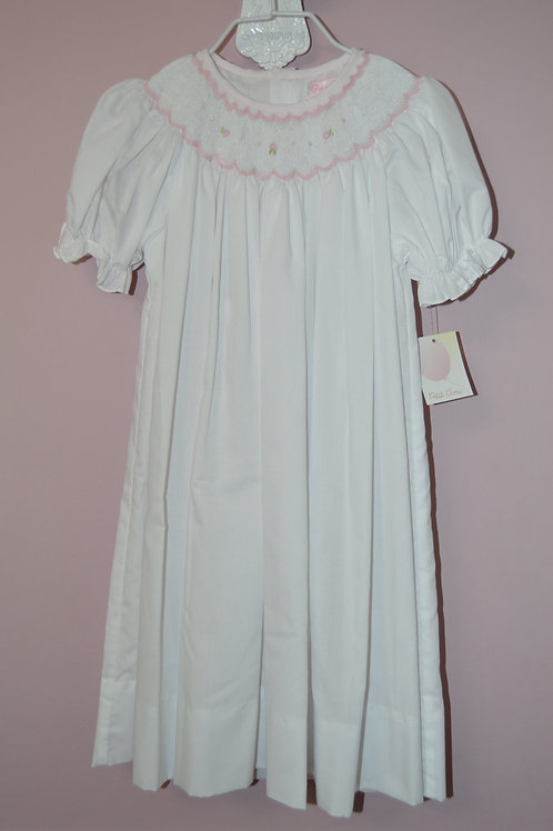 Petit Ami White Smocked Bishop Dress 36-00417