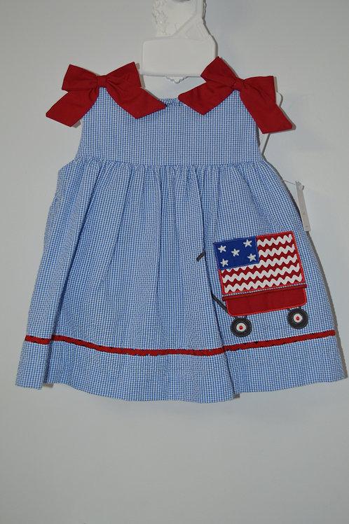 Petit Ami Blue Seersucker Flag Dress 36-00711
