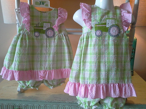 Green & Pink Plaid Tractor Dress 36-00632