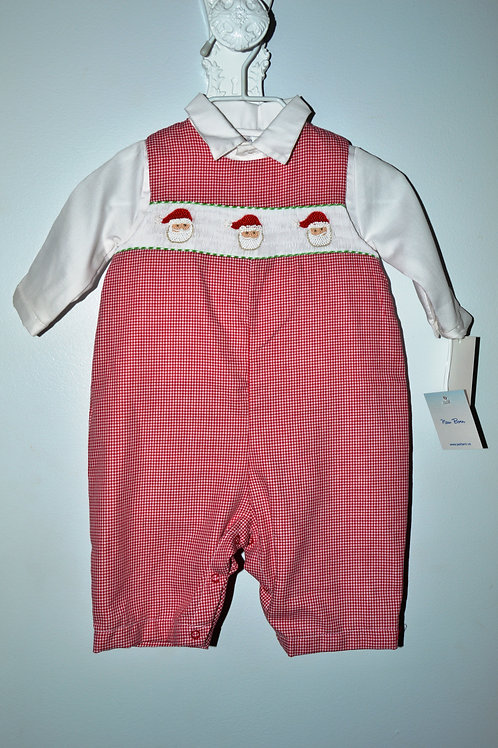 Red Gingham Longall with Santa Smocking  36-0442