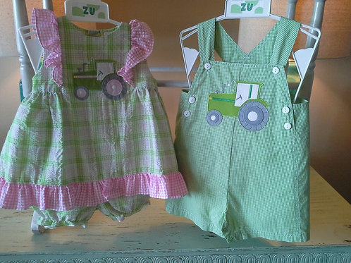 Green Gingham Tractor Sunsuit  36-00633