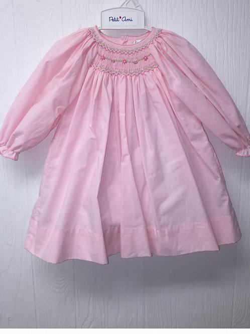 Smocked Pink Gingham Dress LS 36-00448/468