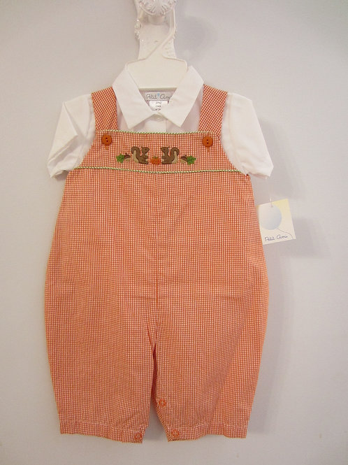 Orange Gingham Longall w Pumpkin & Squirrel 36-00663