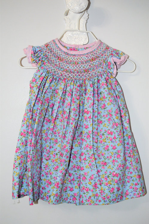 Smocked Blue Floral Dress  36-00699