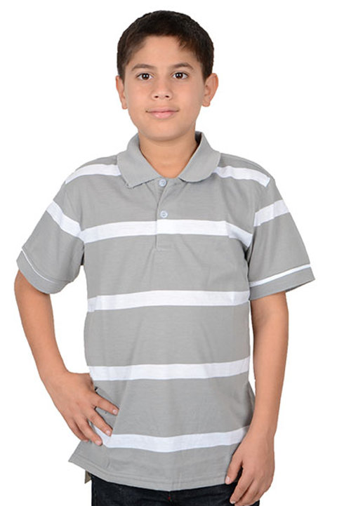 Gray and White Stripped Polo Shirt by Platini