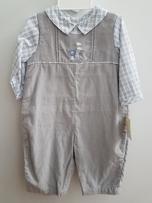 Petit Ami Grey Corduroy Longall w Train 36-00657
