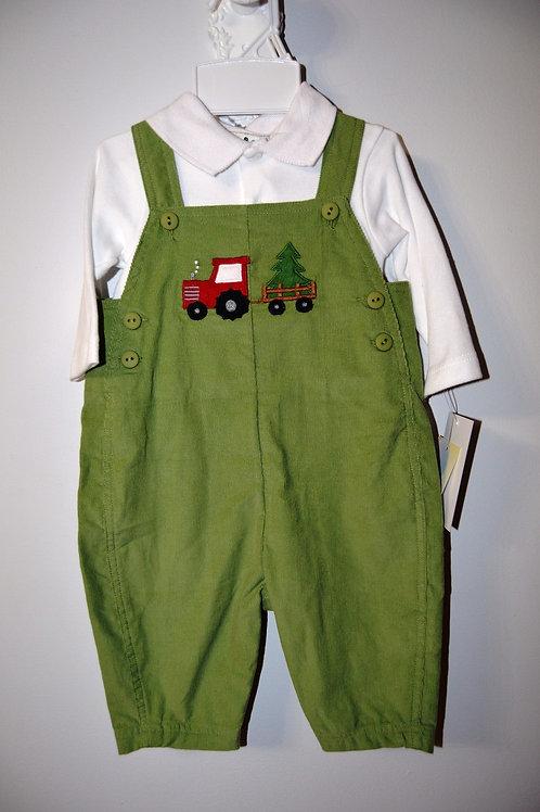Green Corduroy Overalls Tractor /Tree 36-00467/472