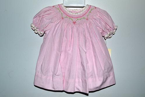Pink Gingham Smocked Dress  36-00510, 512,515