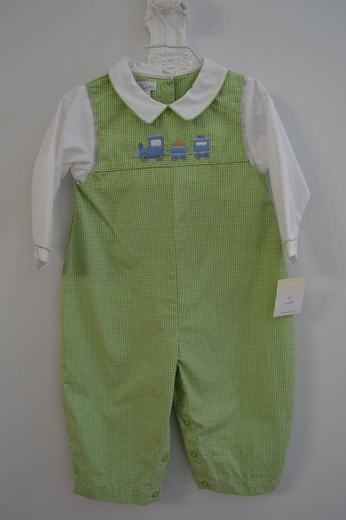 Petit Ami Green Gingham Train Longall 36-00423