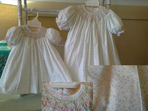 Smocked White  Floral  Blue/Pink Accents  36-00518