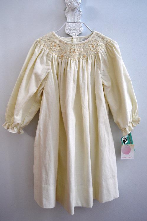 Smocked Cream Corduroy Dress   36-00434