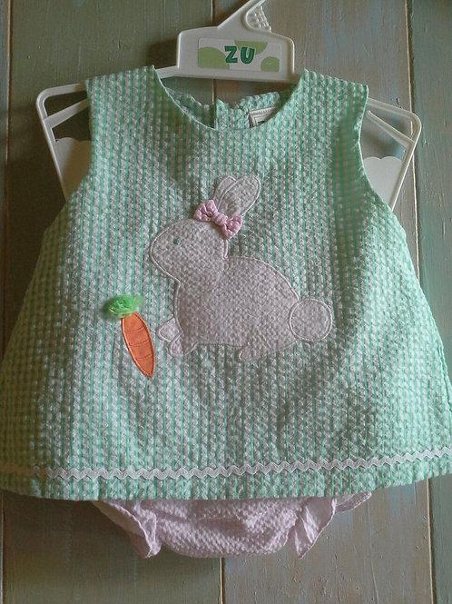 Green Seersucker Bunny Outfit 36-00619