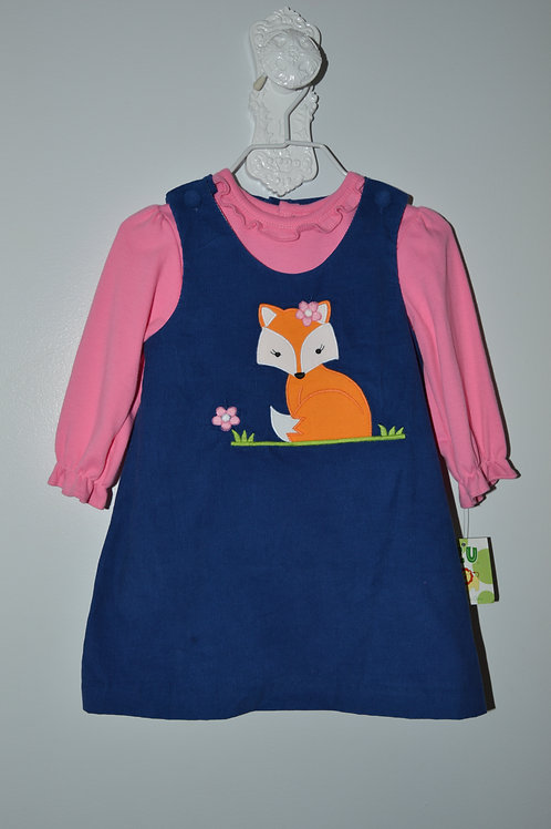 Blue Corduroy Fox Jumper with Pink Shirt 36-00425